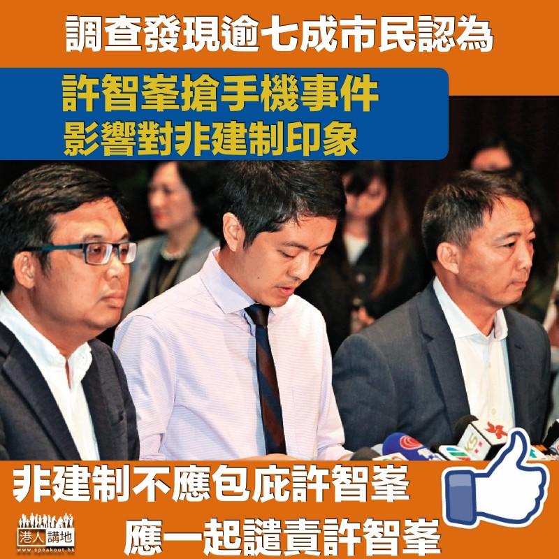 【賠上聲譽】 逾七成市民認為 許智峯事件影響對「泛民主派」印象