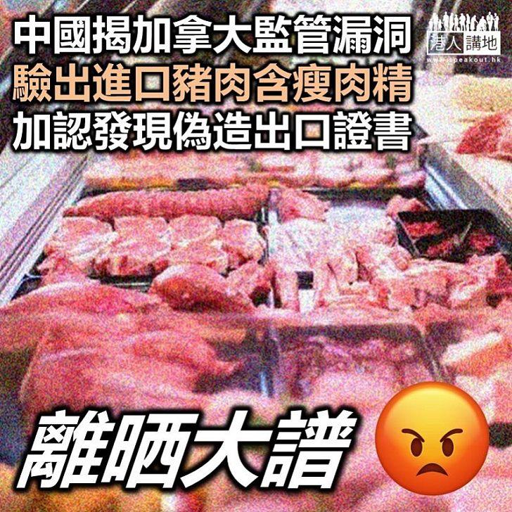 【禁止入口】中國要求加拿大暫停對華出口肉品 問題豬肉中驗出「瘦肉精」