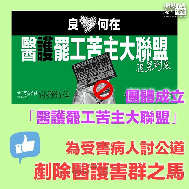 【罷工害港】團體成立「醫護罷工苦主大聯盟」、為因罷工受害病人討回公道