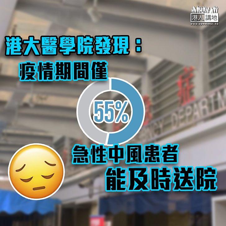 【黃金時間】港大醫學院發現:疫情期間僅55%急性中風患者能及時送院