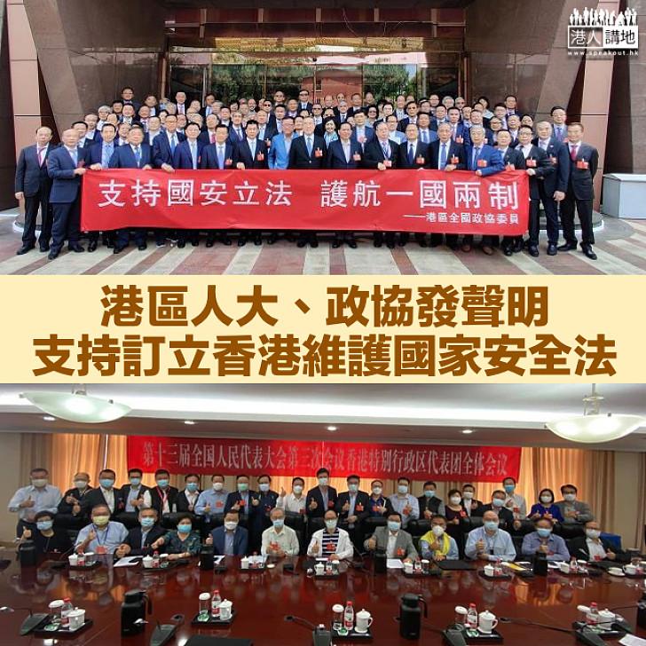 【共同期盼】港區人大、政協發聲明 支持香港維護國家安全法