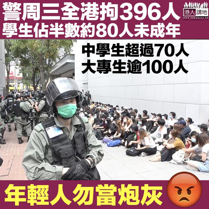 【反國歌法】警周三全港拘396人 學生佔半數約80人未成年