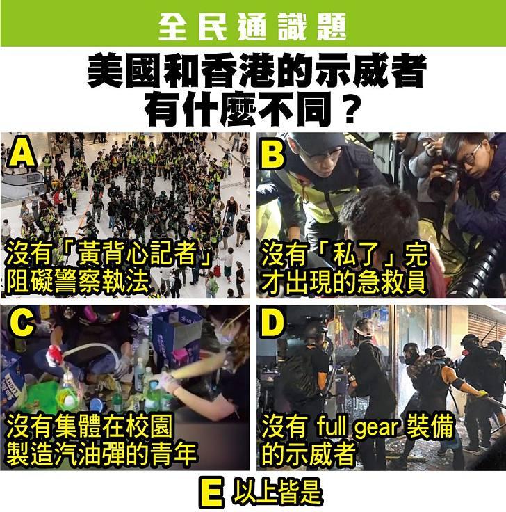【今日網片】全民通識題:美國和香港的示威者有什麼不同?