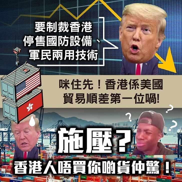 【今日網圖】咪住先!香港係美國貿易順差第一位喎!