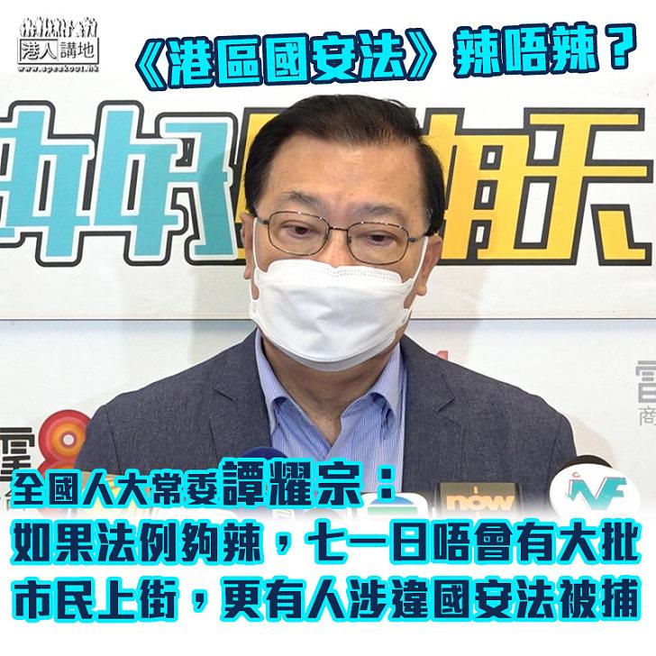 【遏制港獨】譚耀宗稱《港區國安法》「唔辣」又呼籲港人勿挑戰法例