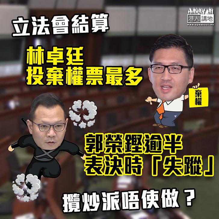 【議會亂象】林卓廷投棄權票最多 郭榮鏗逾半表決時「失蹤」