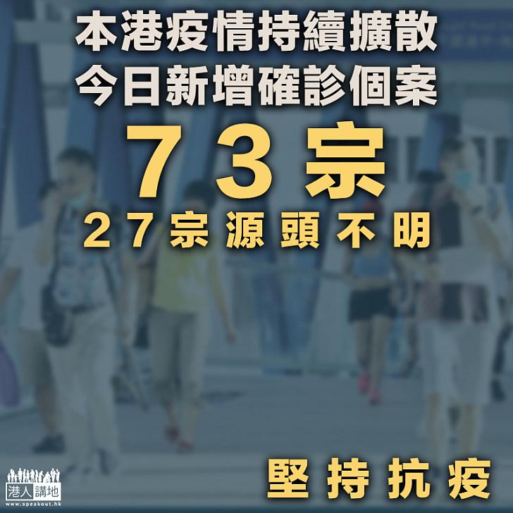 【新冠疫情】本港疫情持續擴散 今日新增確診個案73宗 27宗源頭不明