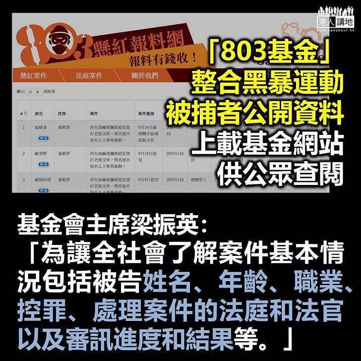 【一目瞭然】「803基金」整合黑暴運動被捕者公開資料 上載基金網站供公眾查閱