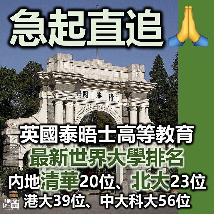 【早被超前】清華首入全球大學20強、內地清華大學亞洲第1