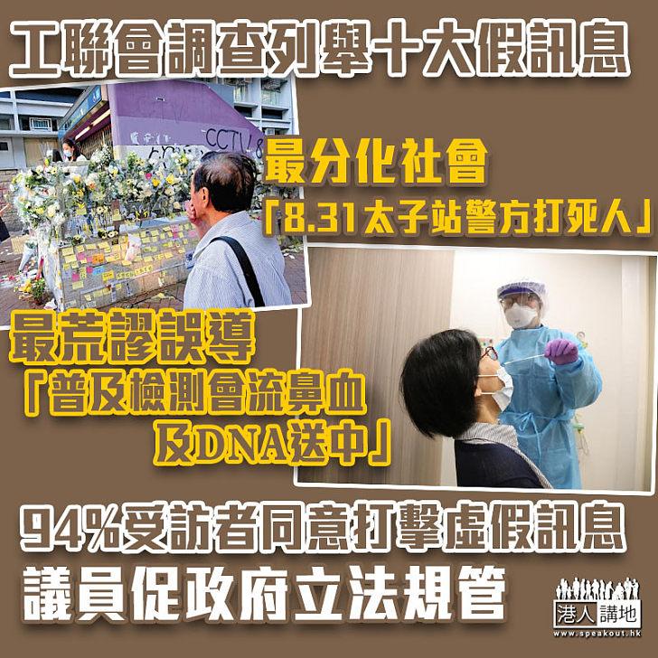 【遏止謠言】工聯會調查:94%受訪者同意打擊虛假訊息 議員促政府立法規管