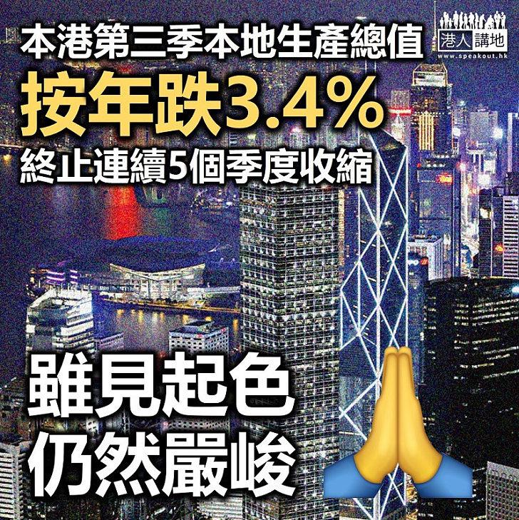 【香港唔掂】本港第三季本地生產總值按年跌3.4%