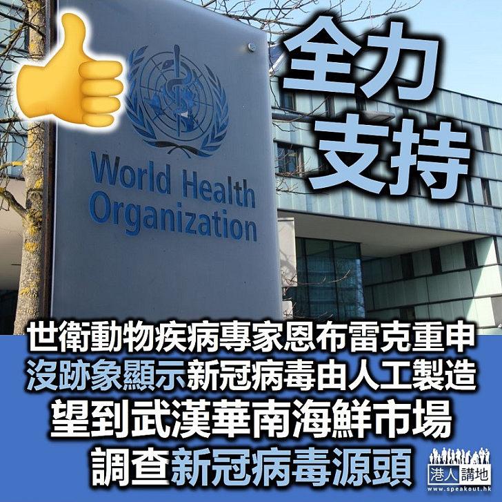 【配合世衛】世衛專家指希望到武漢華南海鮮市場調查新冠病毒源頭