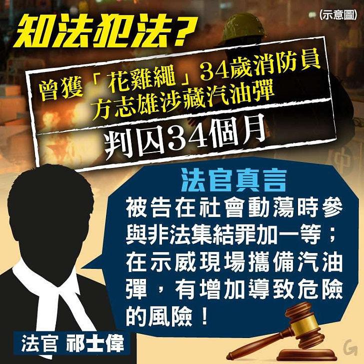 【今日網圖】法官真言:曾獲「花雞繩」34歲消防員 方志雄涉藏汽油彈判囚34個月