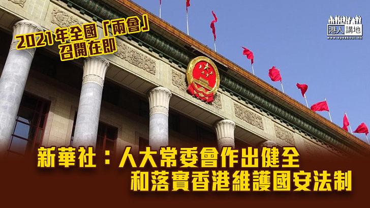 【兩會前瞻】新華社:人大常委會作出健全和落實香港維護國安法制
