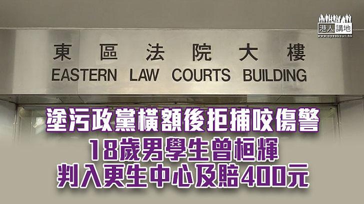 【法律制裁】塗污政黨橫額後拒捕咬傷警 18歲男生判入更生中心及賠400元