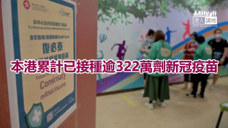 【焦點新聞】本港約194萬人已接種首劑新冠疫苗