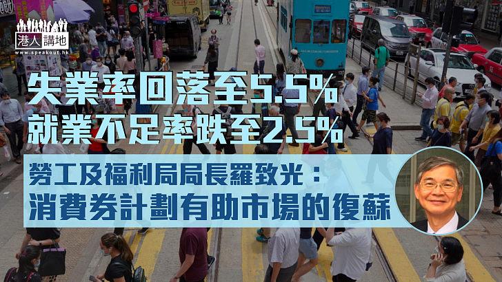 【經濟復蘇】失業率最新回落至5.5%  政府料勞工市場進一步改善