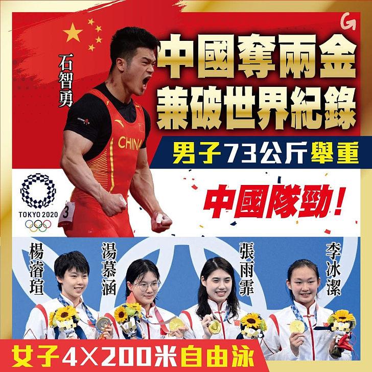 【今日網圖】中國奪兩金兼破世界紀錄