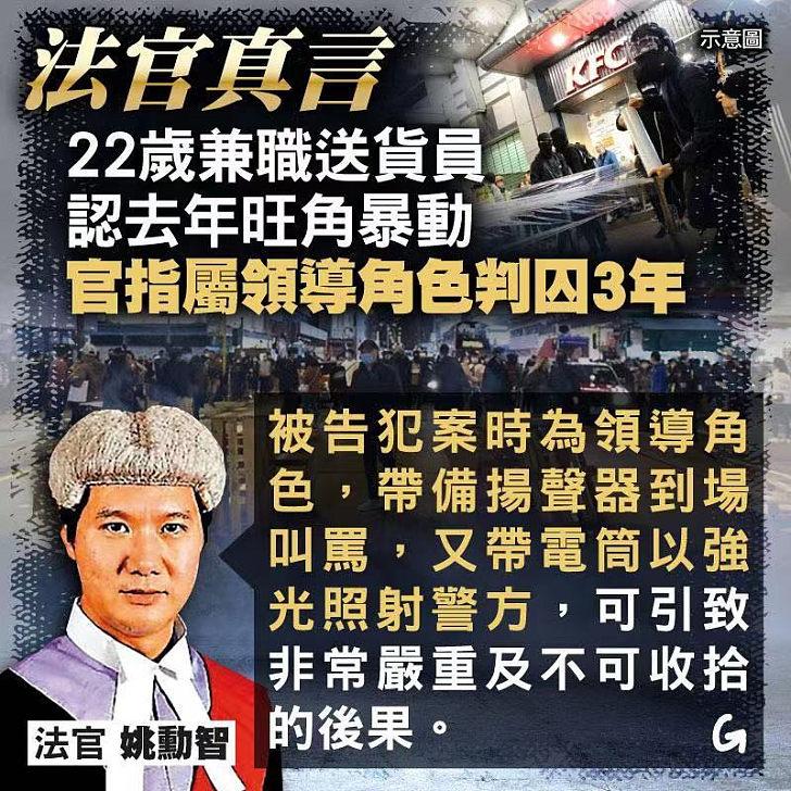 【今日網圖】法官真言:22歲兼職送貨員認去年旺角暴動囚3年