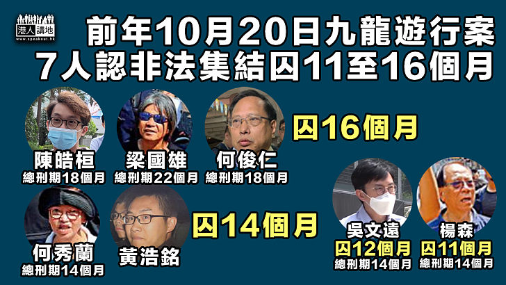 【非法集結】前年10月20日九龍遊行案 梁國雄等7人被判囚11至16個月