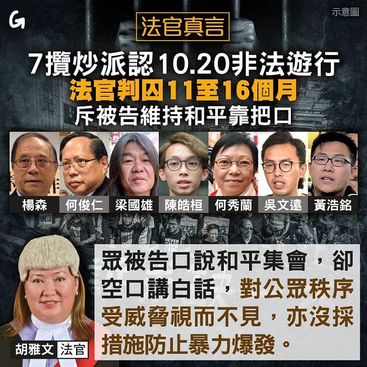 【今日網圖】法官真言:7攬炒派認10.20非法遊行 被判囚11至16個月