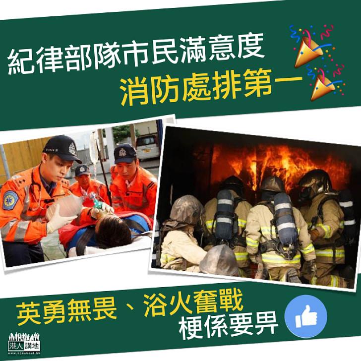 【評分最高】港大民調:九個紀律部隊市民滿意度  消防處排第一