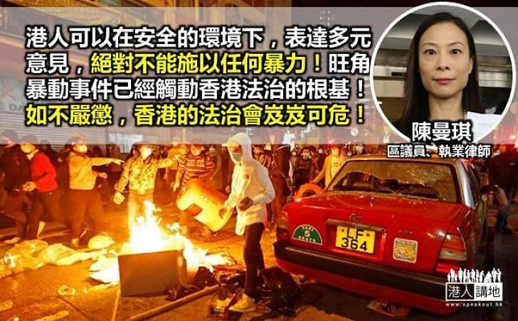陳曼琪:警方及司法機關嚴正執法 起阻嚇作用